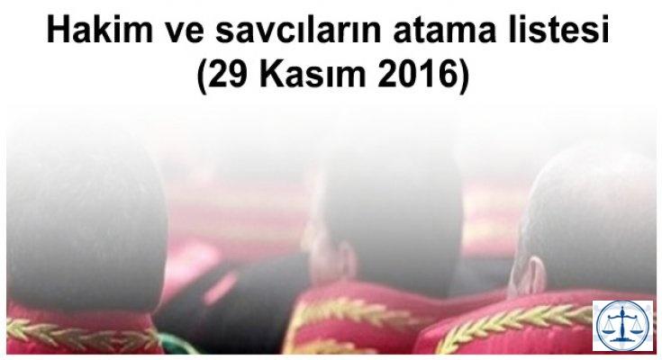 Hakim ve savcıların atama listesi (29 Kasım 2016)