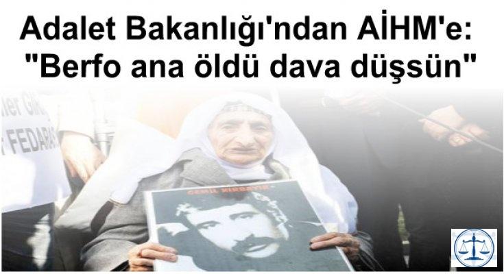 """Adalet Bakanlığı'ndan AİHM'e: """"Berfo ana öldü dava düşsün"""""""