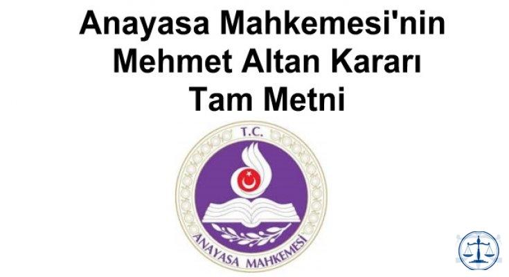 Anayasa Mahkemesi'nin Mehmet Altan Kararı