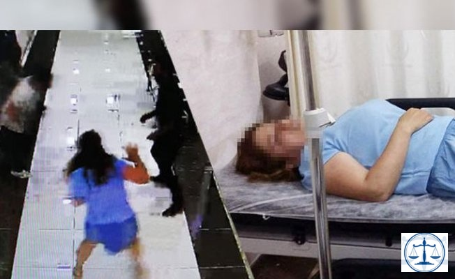 Adliyede skandal! Polisin elinden kaçıp katibin saç derisini kopardı