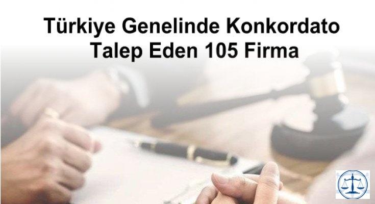 Türkiye Genelinde Konkordato Talep Eden 105 Firma