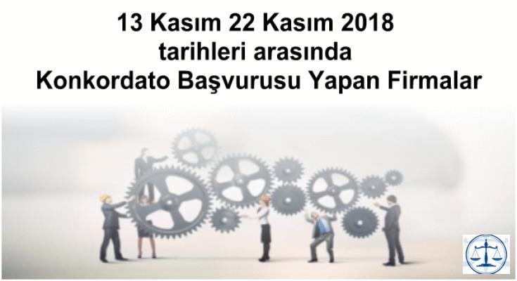 13 Kasım 22 Kasım 2018 tarihleri arasında Konkordato Başvurusu Yapan Firmalar