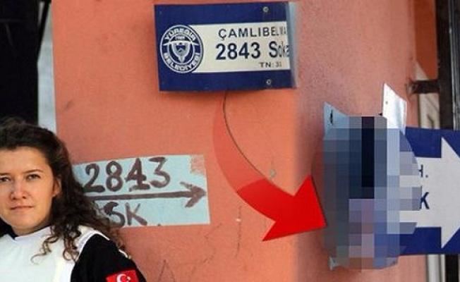 Kadın polis sokak tabelasında buldu! Görenler şoke oldu