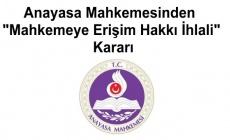 Anayasa Mahkemesinden Mahkemeye Erişim Hakkı İhlali Kararı