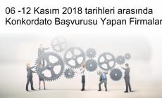 06 -12 Kasım 2018 tarihleri arasında Konkordato Başvurusu Yapan Firmalar