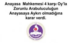 Anayasa  Mahkemesi 4 karşı Oy'la Zorunlu Arabuluculuğun Anayasaya Aykırı olmadığına karar verdi.